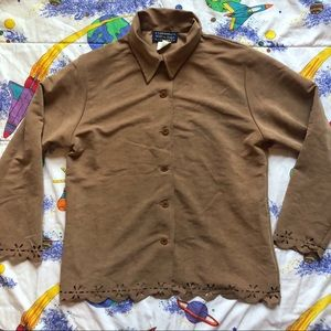 VTG 90s Camel Faux Suede Cut Out Shirt